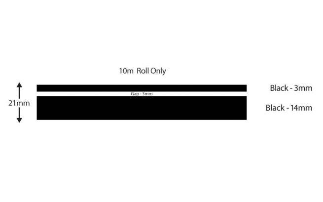 Black Double Boat Stripes 21mm