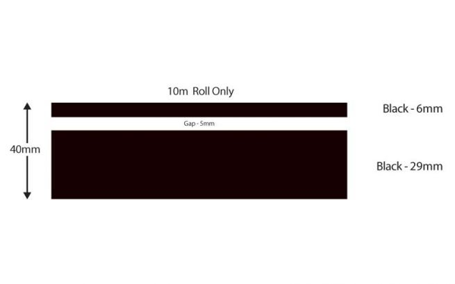 Black Double Boat Stripes 40mm