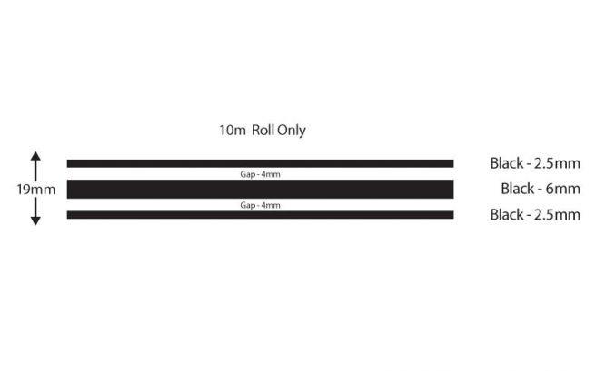 Black Triple Boat Stripes 19mm