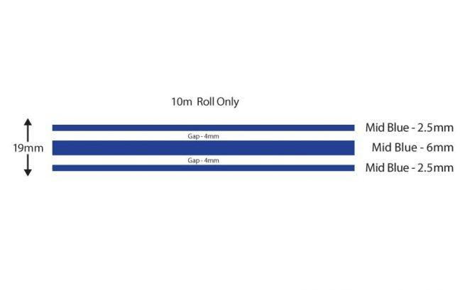 Mid Blue Triple Boat Stripes 19mm