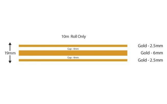 Gold Triple Boat Stripes 19mm