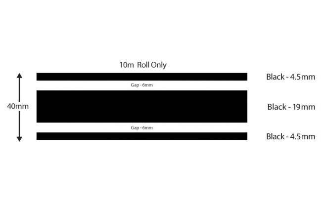 Black Triple Boat Stripes 40mm