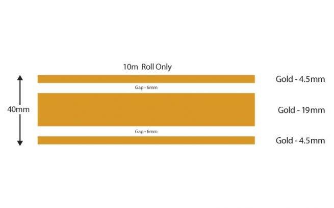 Gold Triple Boat Stripes 40mm